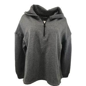 DKNY Sport Gray Hoodie Sweatshirt 1/4 Zip Logo
